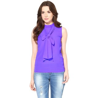 Harpa Purple Crepe Solid Womens Top