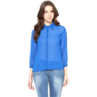 Harpa Royal Blue Georgette Solid Womens Top