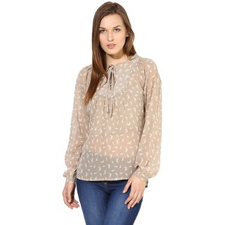 9238e7a79abb2 Buy Harpa Women Beige Printed Full Sleeve Top Online   ₹599 from ...
