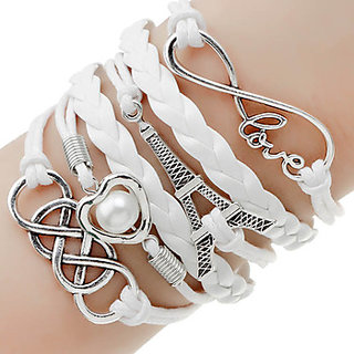White Leather Non Plated Bracelets For Women