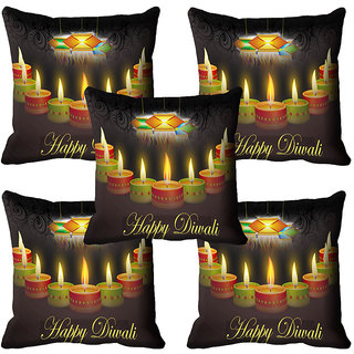 meSleep Beautiful Diwali Candle  Cushion Cover (16x16)