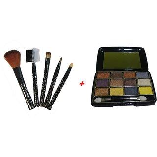 Combo of 5 PCs Makeup Professional Brush Set +Trendy 12 Colors Eyeshadow Palette