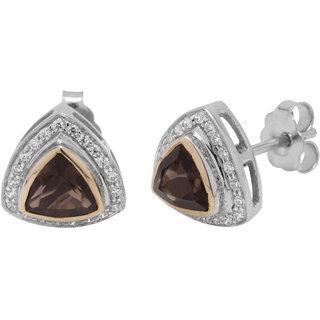 Allure Jewellery 925 Sterling Silver Smokey Women Earrings