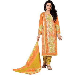 MAC Orange Printed Unstitched Salwar Suit for Women