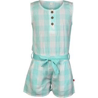 Nino Bambino Organic Cotton Girls Summer Sleeveless Jumpsuit with Pintex stitching