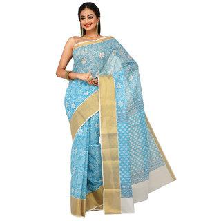 Sangam Kolkata Blue Cotton Printed Saree With Blouse