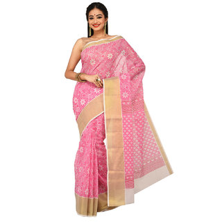 Sangam Pink Cotton Printed Saree With Blouse