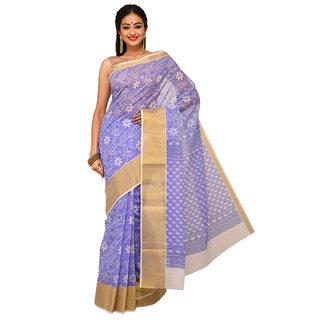 Sangam Purple Cotton Printed Saree With Blouse