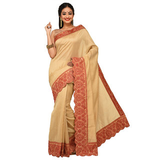Sangam Beige Nylon Embroidered Saree With Blouse