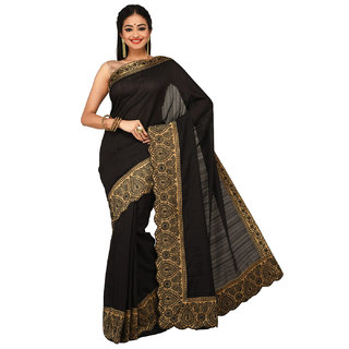 Sangam Black Nylon Embroidered Saree With Blouse