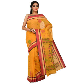 Sangam Kolkata Yellow Cotton Self Design Saree Without Blouse