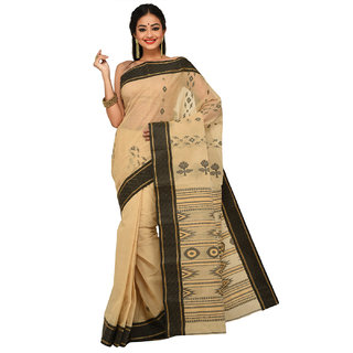 Sangam Kolkata Beige Cotton Self Design Saree Without Blouse
