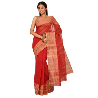 Sangam Kolkata Red Cotton Self Design Saree With Blouse