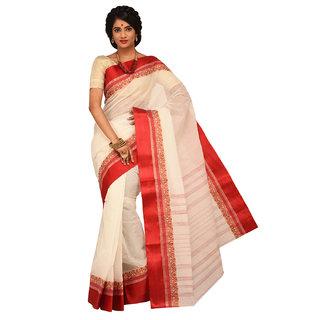 Sangam Red Cotton Self Design Saree With Blouse