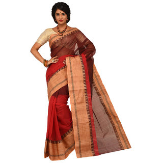 Sangam Kolkata Red Cotton Self Design Saree Without Blouse