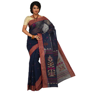 Sangam Blue Cotton Self Design Saree With Blouse