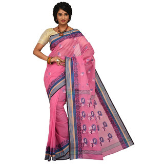 Sangam Pink Cotton Self Design Saree With Blouse