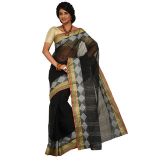 Sangam Black Cotton Self Design Saree With Blouse
