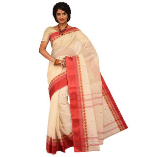 Sangam Kolkata White Cotton Self Design Saree With Blouse