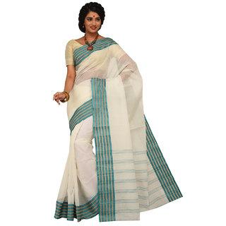 Sangam Green Cotton Self Design Saree With Blouse