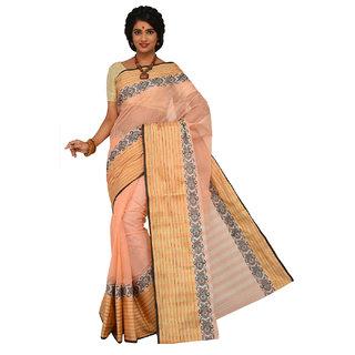 Sangam White Cotton Self Design Saree With Blouse