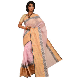 Sangam Peach Cotton Self Design Saree With Blouse