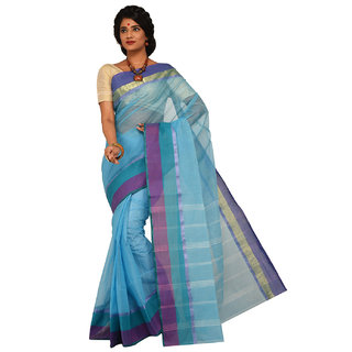 Sangam Turquoise Cotton Self Design Saree With Blouse
