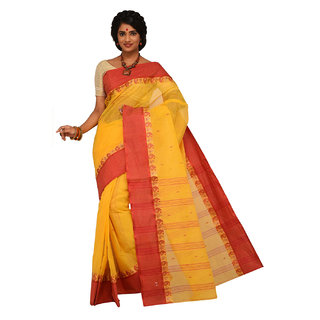 Sangam Yellow Cotton Self Design Saree With Blouse
