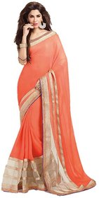 Bhuwal Fashion Peach Georgette Plain Saree With Blouse
