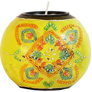 Mavi Festival Wooden Antique Candle Holder-MCS-958