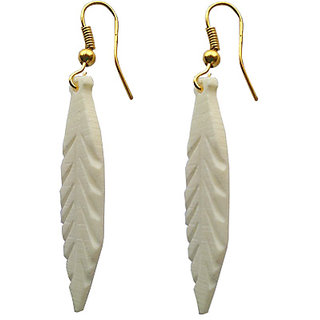 Stylish Leaf Art Handcrafted Marble Earrings