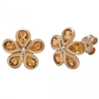 Allure Jewellery Flower Shape 925 Sterling Silver with Citrine Women Studs