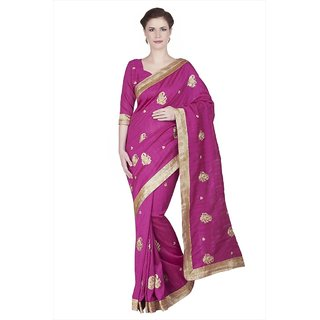 Designersareez Khaki Linen Embroidered Saree With Blouse