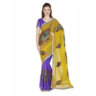 Yellow  Violet Faux Georgette Saree With Unstitched Blouse (1897)