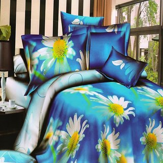 Welhouse India  White Flowers on Blue Duvet Cover and bedsheet  2 Pillow Cover
