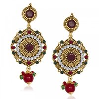 Kriaa Red  Green Austrian Stone  Drop Antique Gold Finish Dangle Earrings