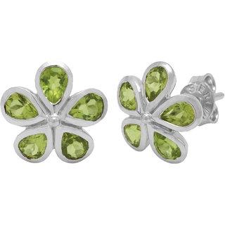 Allure Jewellery Flower Shape 925 Sterling Silver with Peridot Women Studs