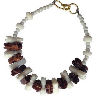 Handmade Blend of Brown  White Marble Bracelet