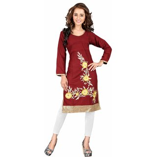 Triveni Beautiful Maroon Colored Embroidered Blended Cotton Kurti