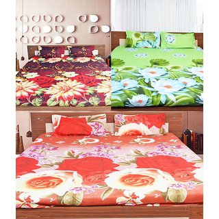 Set of 3- iLiv 3D Double Bed sheet With 6 Pillow Cover