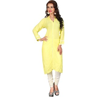 Triveni Beautiful Yellow Colored Lace Worked Blended Cotton Kurti