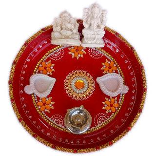Handmade Golden Strip with Kundan Pooja Thali Set (Diwali Special)