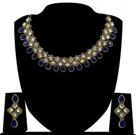 Zaveri Pearls Non Plated Blue & Gold Alloy Necklace Set For Women