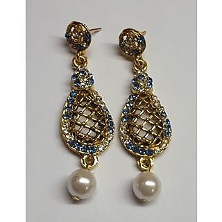 Nimo blue Color Gold Plated Earings with Pearl and Stone Studded Work