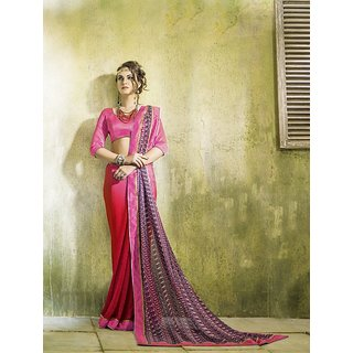 SmartLady Pink, Red  Grey Color Georgette Fabric Printed Saree