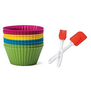 Silicon Cup Cake Moulds 12pcs + Silicon brush and Stapula