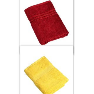 Attractivehomes beautiful plain cotton bath towel set of 2