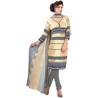 Parisha Blue Cotton Printed Salwar Suit Dress Material (Unstitched)