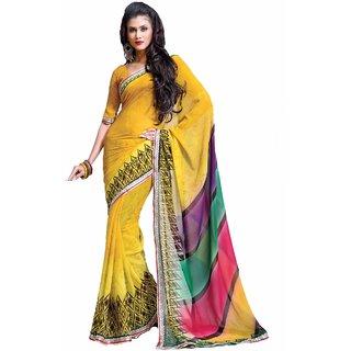 Aagaman Yellow Faux Georgette Casual Printed Saree 12AB TSHTXKI120b