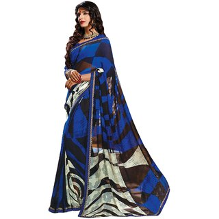 Aagaman Beautiful Multi Colored Printed Faux Georgette Saree TSPPSH2043